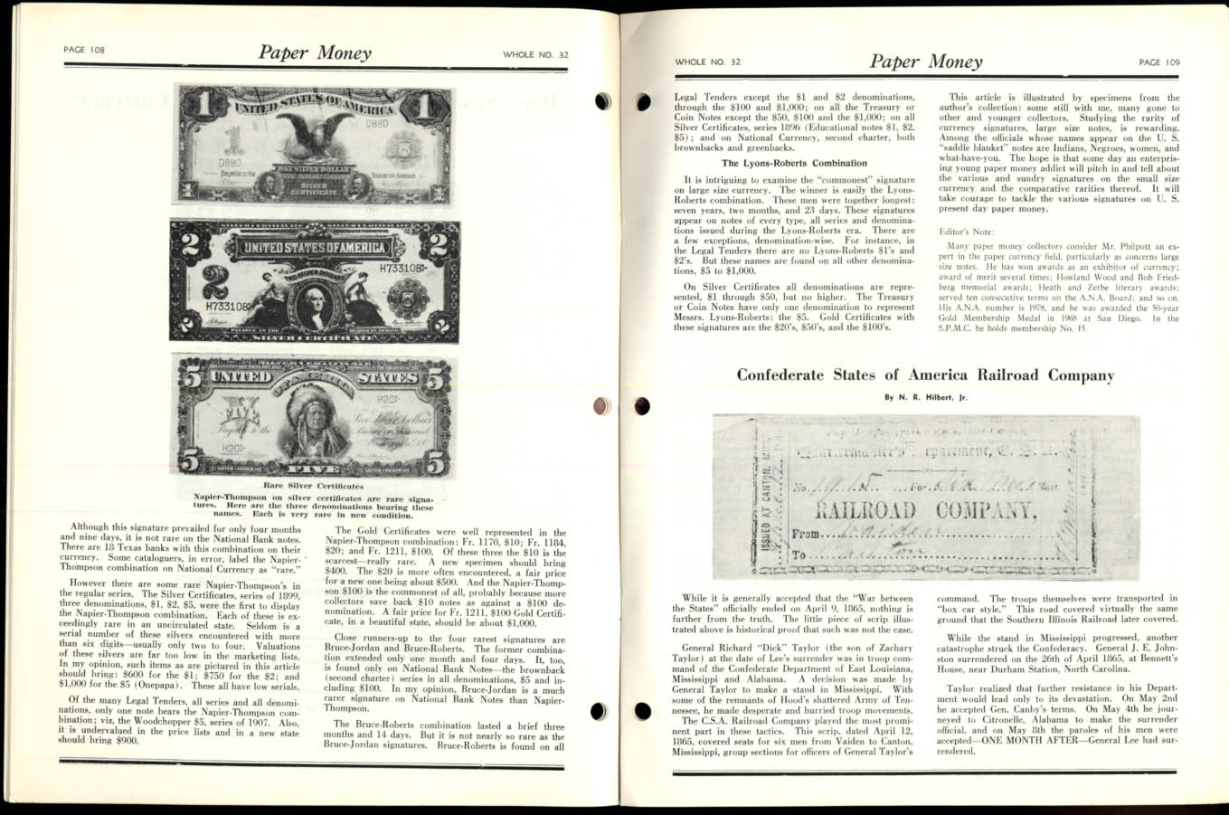 Image for PAPER MONEY 4Q 1969 Confederate RR Notes; Doylestown Bank; Rare Signatures