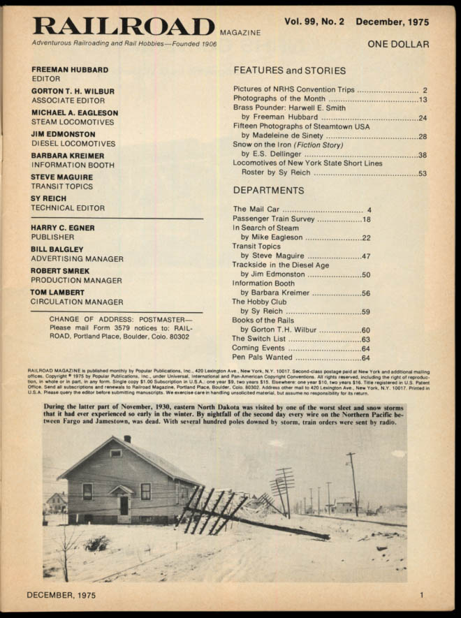 Image for RAILROAD 12 1975 New York State Short Lines Locos; Steamtown USA