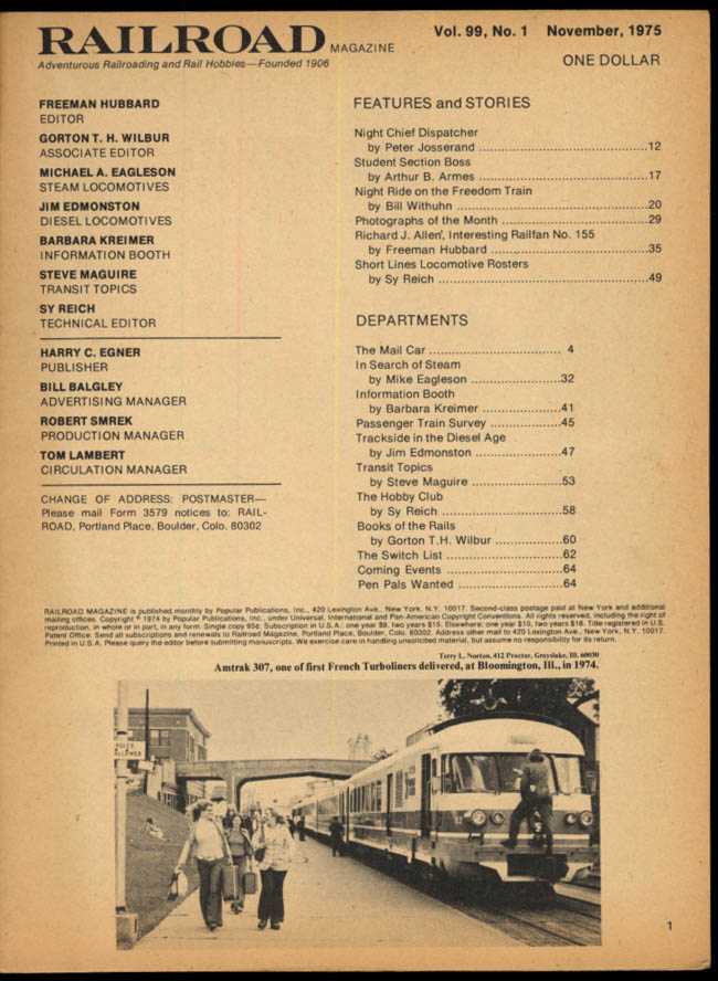 Image for RAILROAD 11 1975 Short Lines Rosters; Freedom Train; Richard J Allen