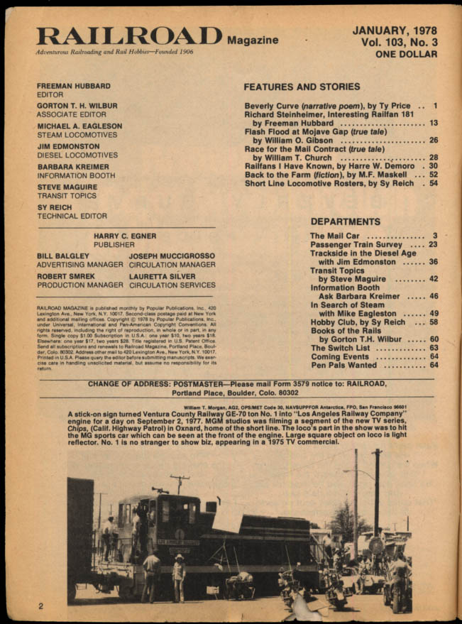 Image for RAILROAD 1 1978 Short Line Rosters; Mojave Gap Flash Flood