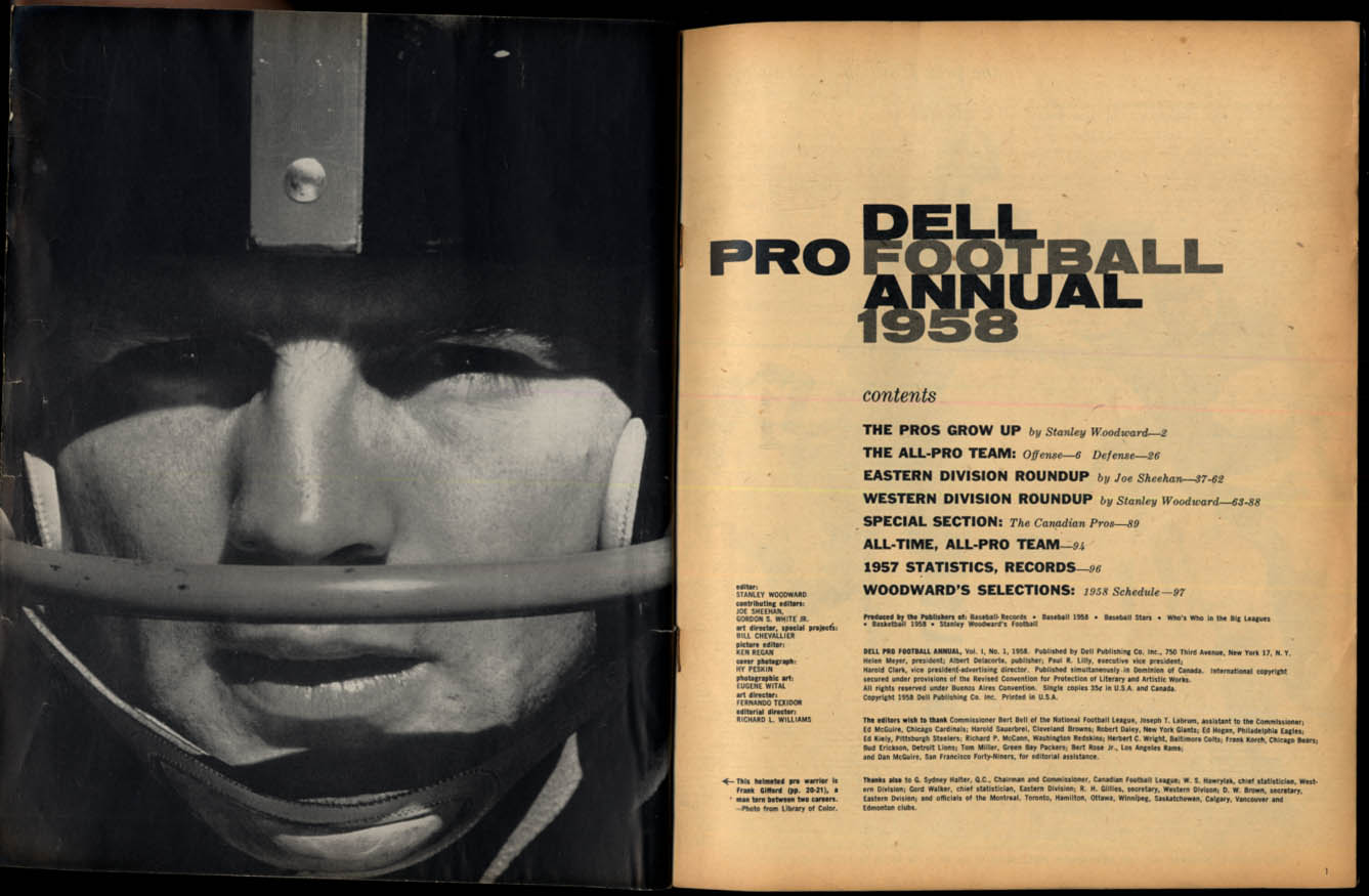 Image for Dell PRO FOOTBALL ANNUAL 1958 Bobby Laynbe Tobin Rote; All-Time All-Pro Teams
