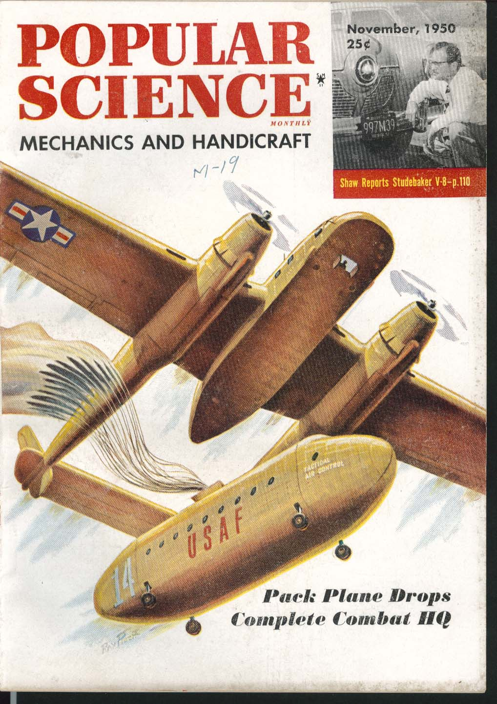 Image for POPULAR SCIENCE Pack Plane Drops Combat HQ Studebaker V8 Wilbur Shaw ++ 11 1950
