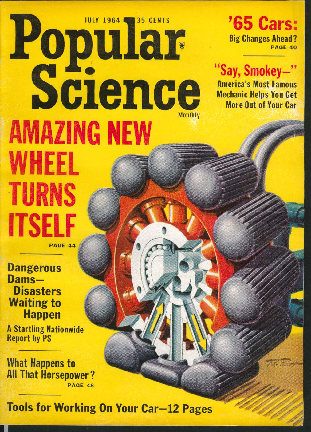 Image for POPULAR SCIENCE Preview of 1965 Cars Dangerous Dams Horsepower ++ 7 1964