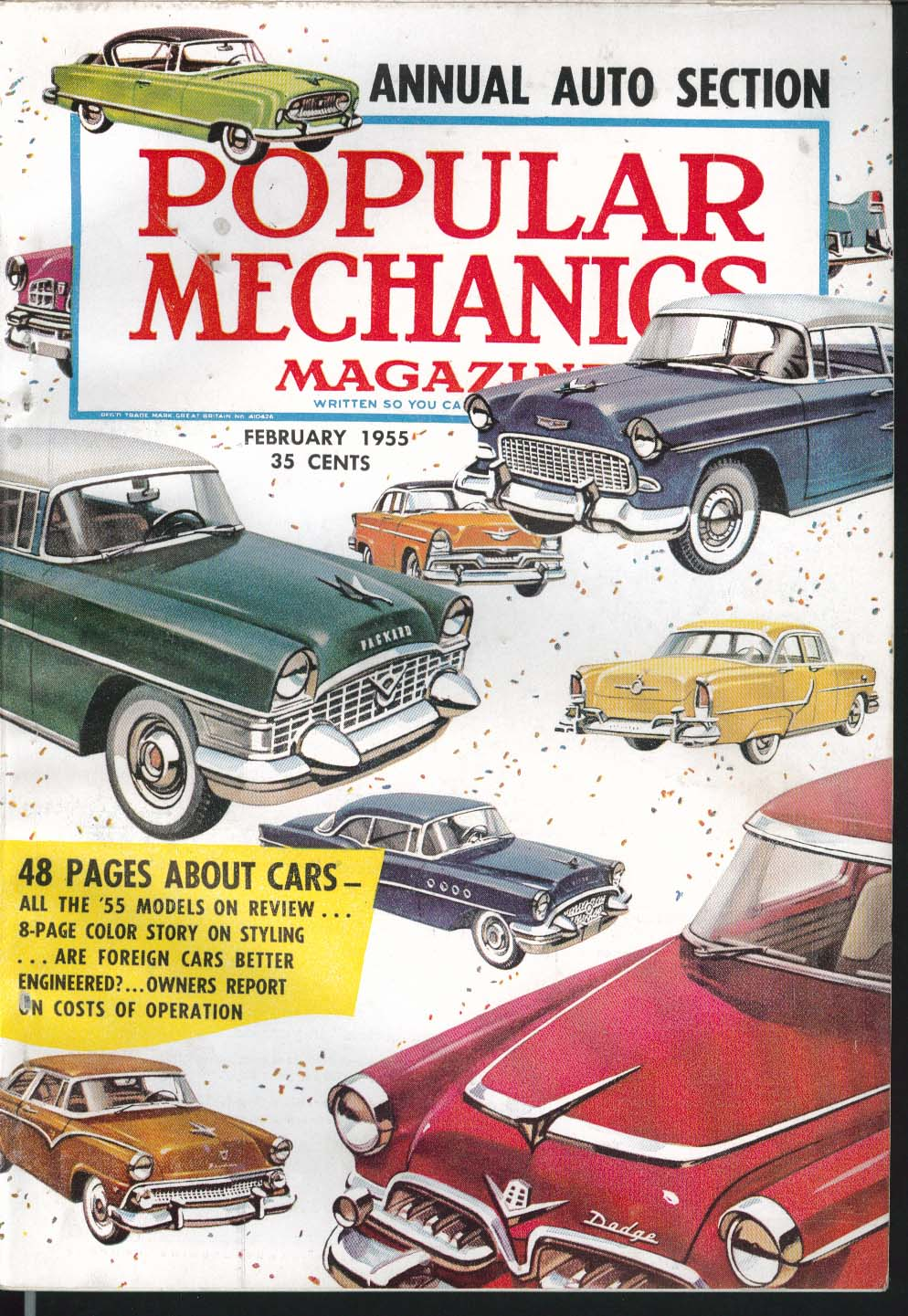 Image for POPULAR MECHANICS Home Movies New Cars Automatic Transmissions ++ 2 1955