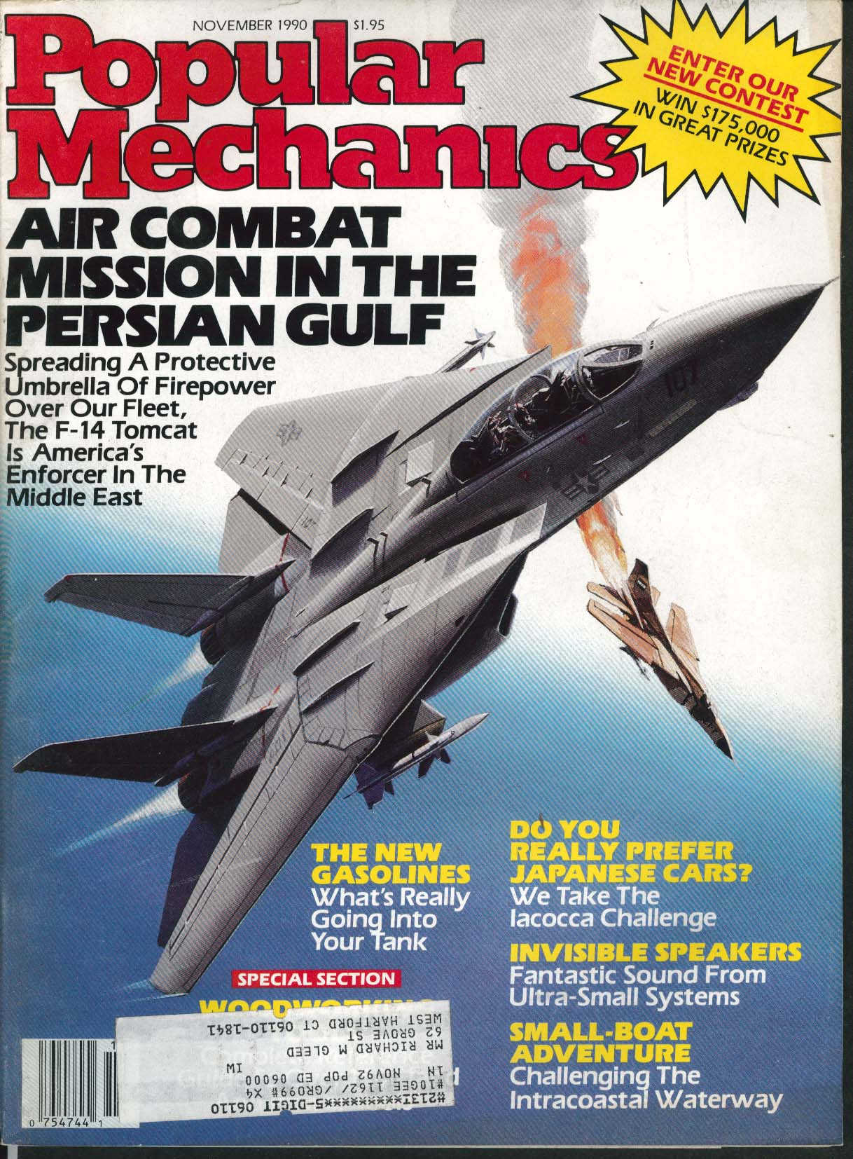 Image for POPULAR MECHANICS Persian Gulf Air Combat F-14 Tomcat Iacocca Challenge 11 1990