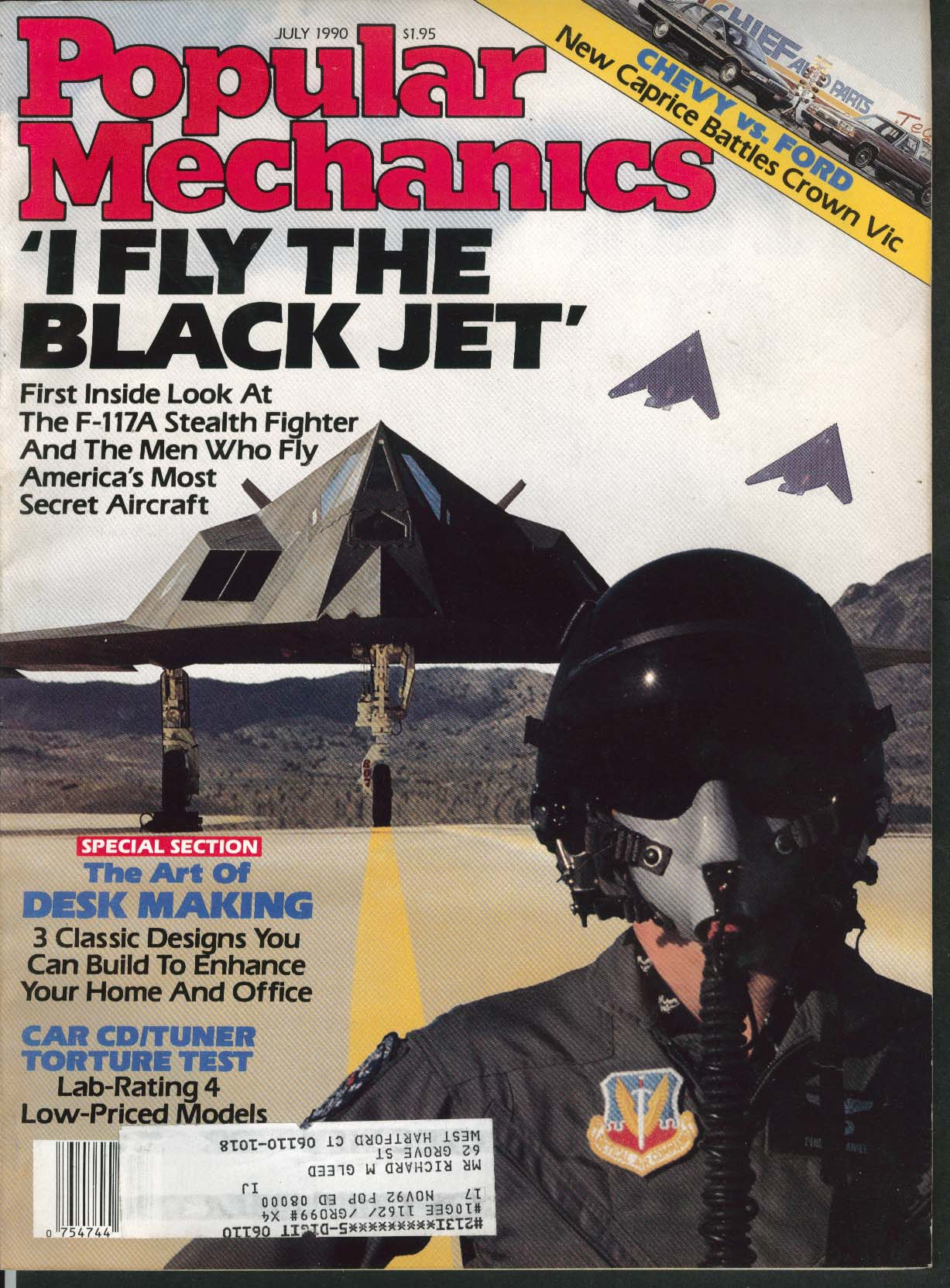 Image for POPULAR MECHANICS Stealth Fighter F-177A Caprice Ford Crown Victoria ++ 7 1990