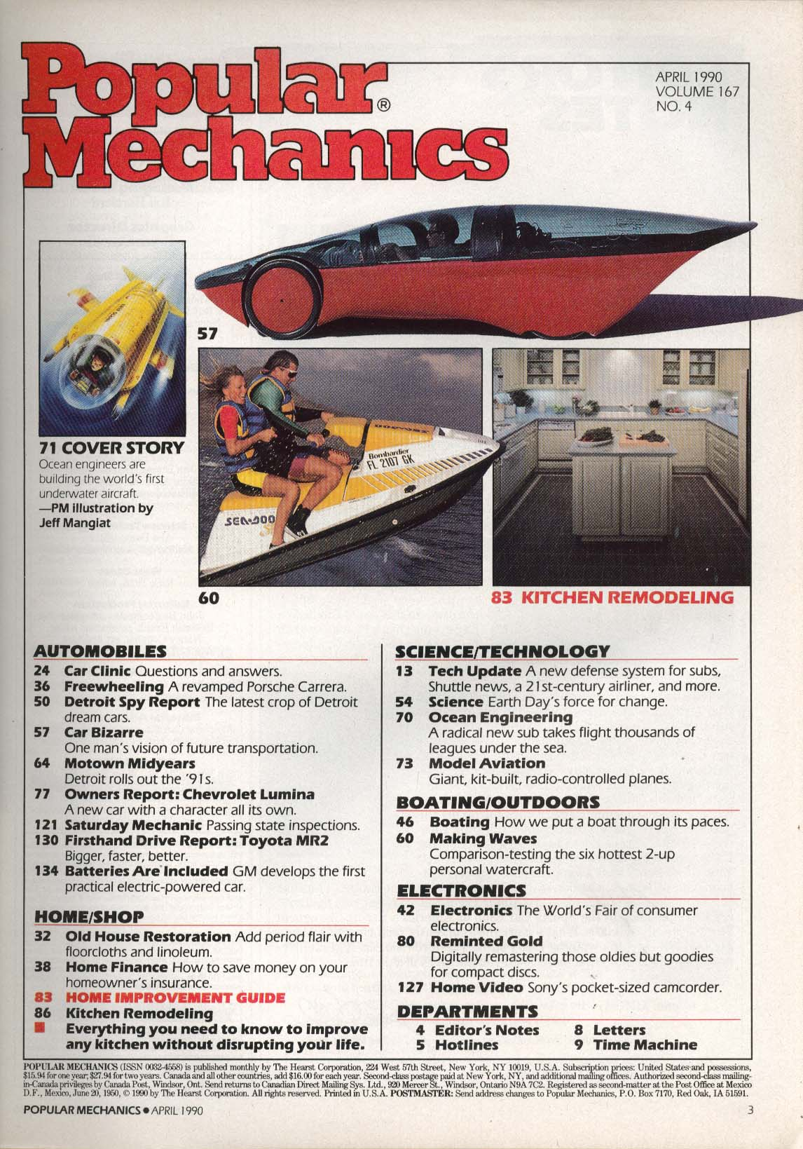 Image for POPULAR MECHANICS Jet-Ski Toyota MR2 Porsche Carrera Chevrolet Lumina ++ 4 1990