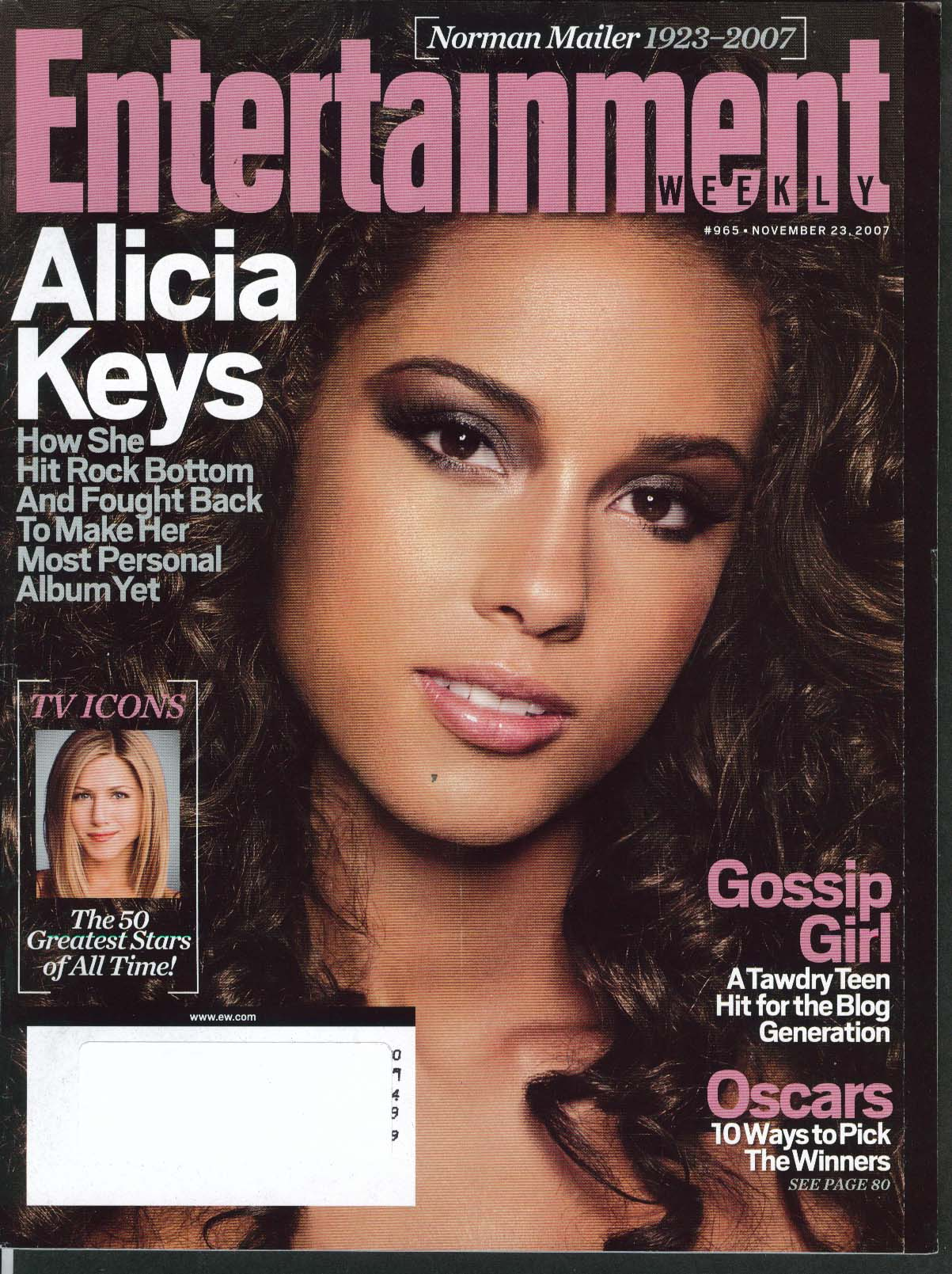 Image for ENTERTAINMENT WEEKLY #965 Alicia Keys Jennifer Aniston Norman Mailer 11/23 2007