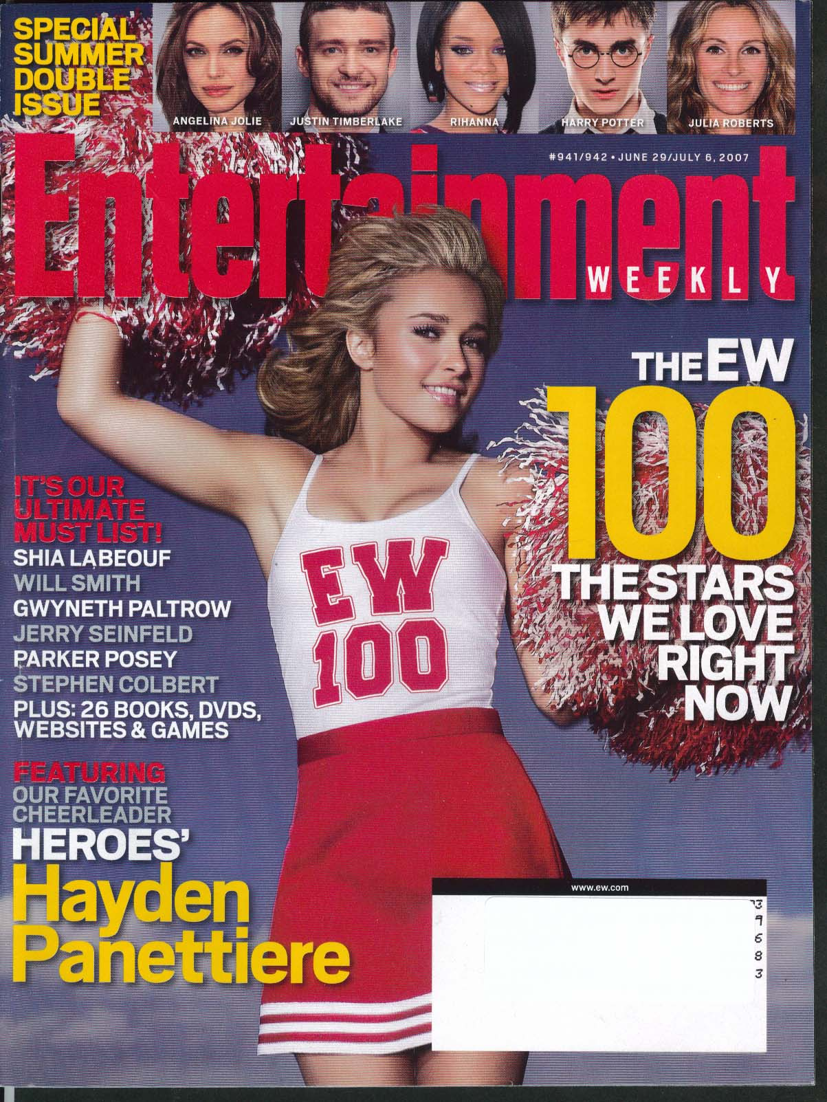 Image for ENTERTAINMENT WEEKLY Hayden Panettiere Angelina Jolie Justin Timberlake 7/6 2007