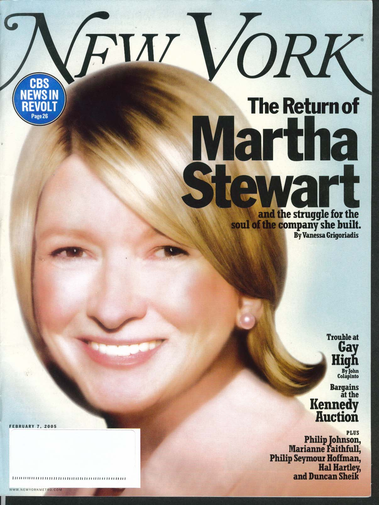 Image for NEW YORK Martha Stewart Marianne Faithfull Philip Seymour Hoffman ++ 2/7 2005