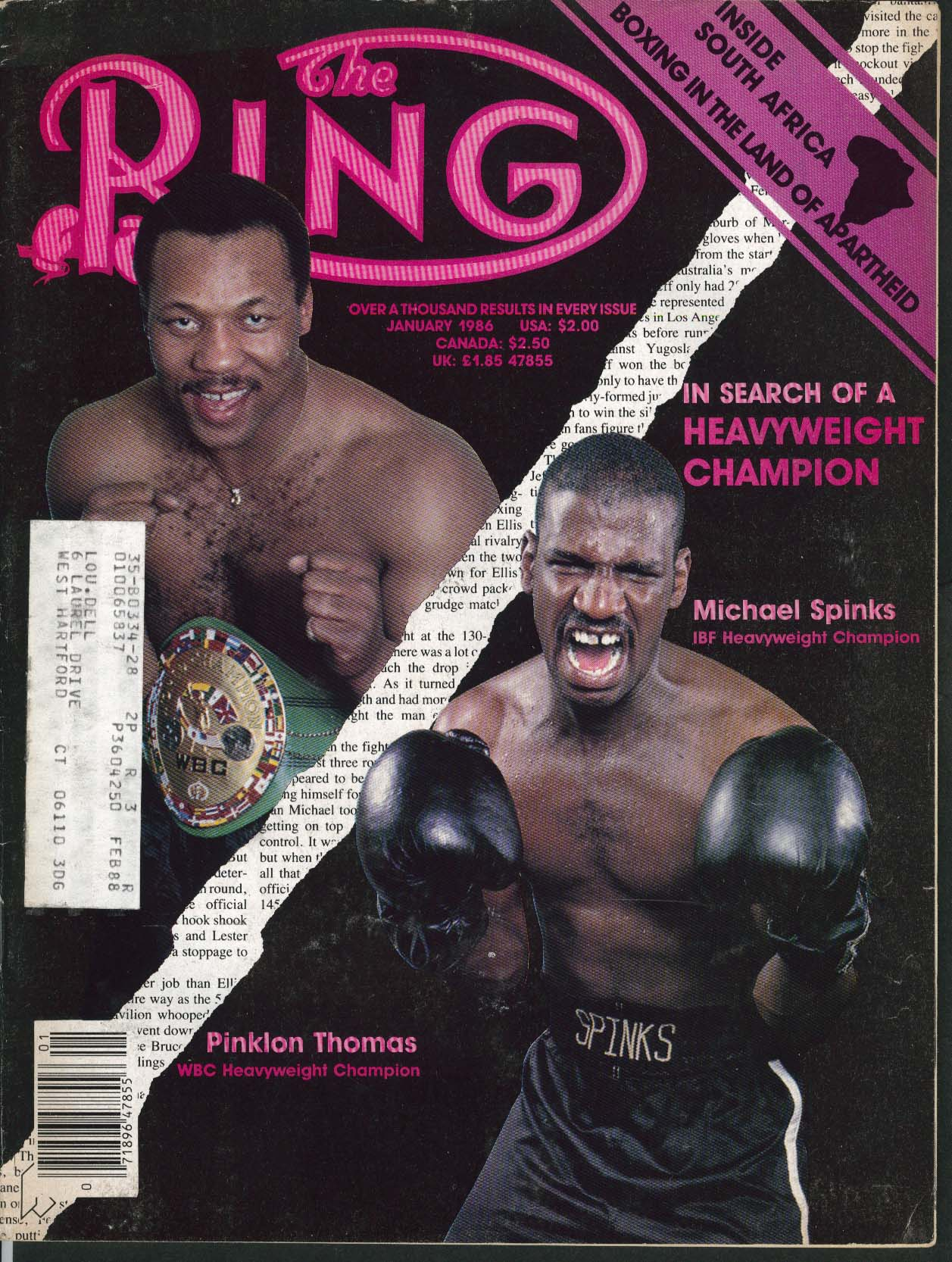 Image for RING South Africa Apartheid Boxing Michael Spinks Pinklon Thomas ++ 1 1986
