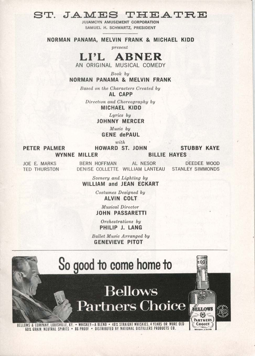 Image for Li'l Abner Playbill 5/26/58 Peter Palmer Howard St John Stubby Kaye St James