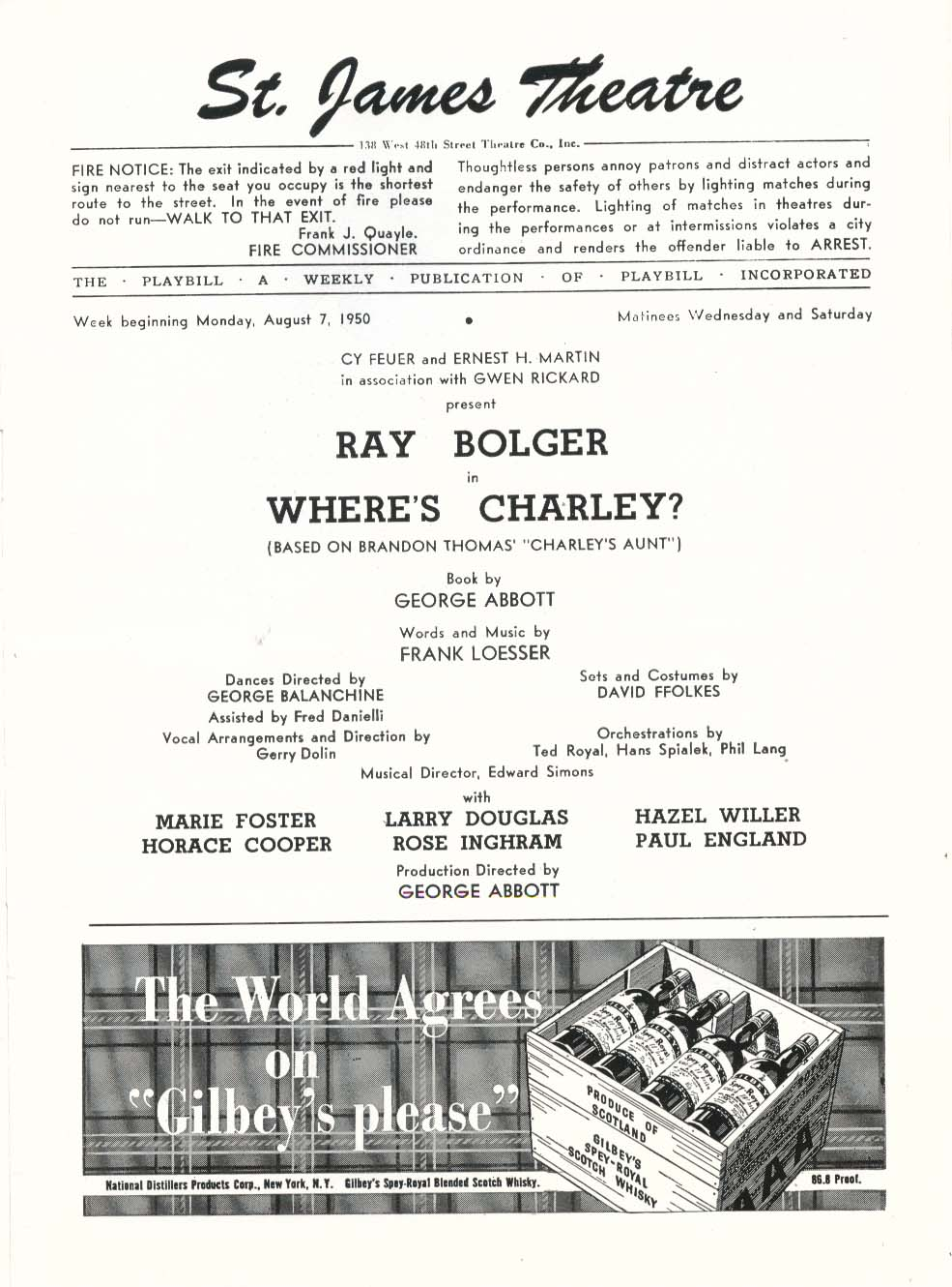 Image for Where's Charley Playbill 8/7/50 Ray Bolger Hirschfeld