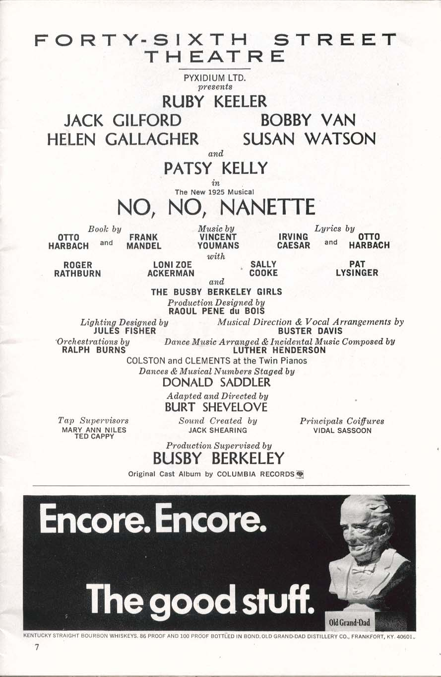 Image for No No Nanette Playbill 9/1971 Ruby Keeler Jack Guilford Patsy Kelly Susan Watson