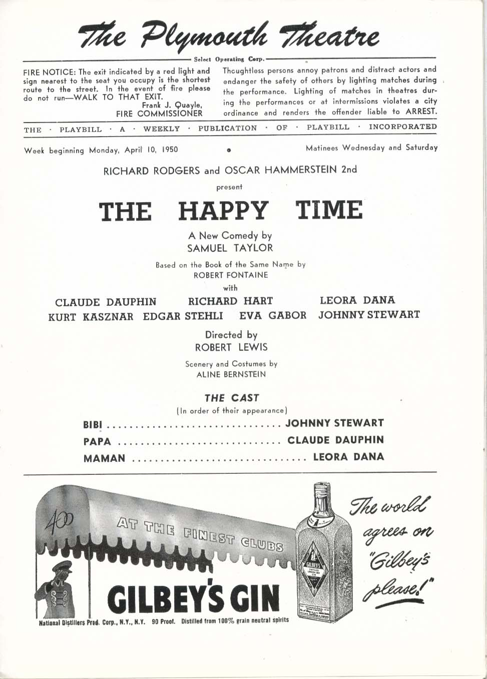 Image for The Happy Time Playbill 4/10/50 Eva Gabor Kurt Kasznar Claude Dauphin Plymouth
