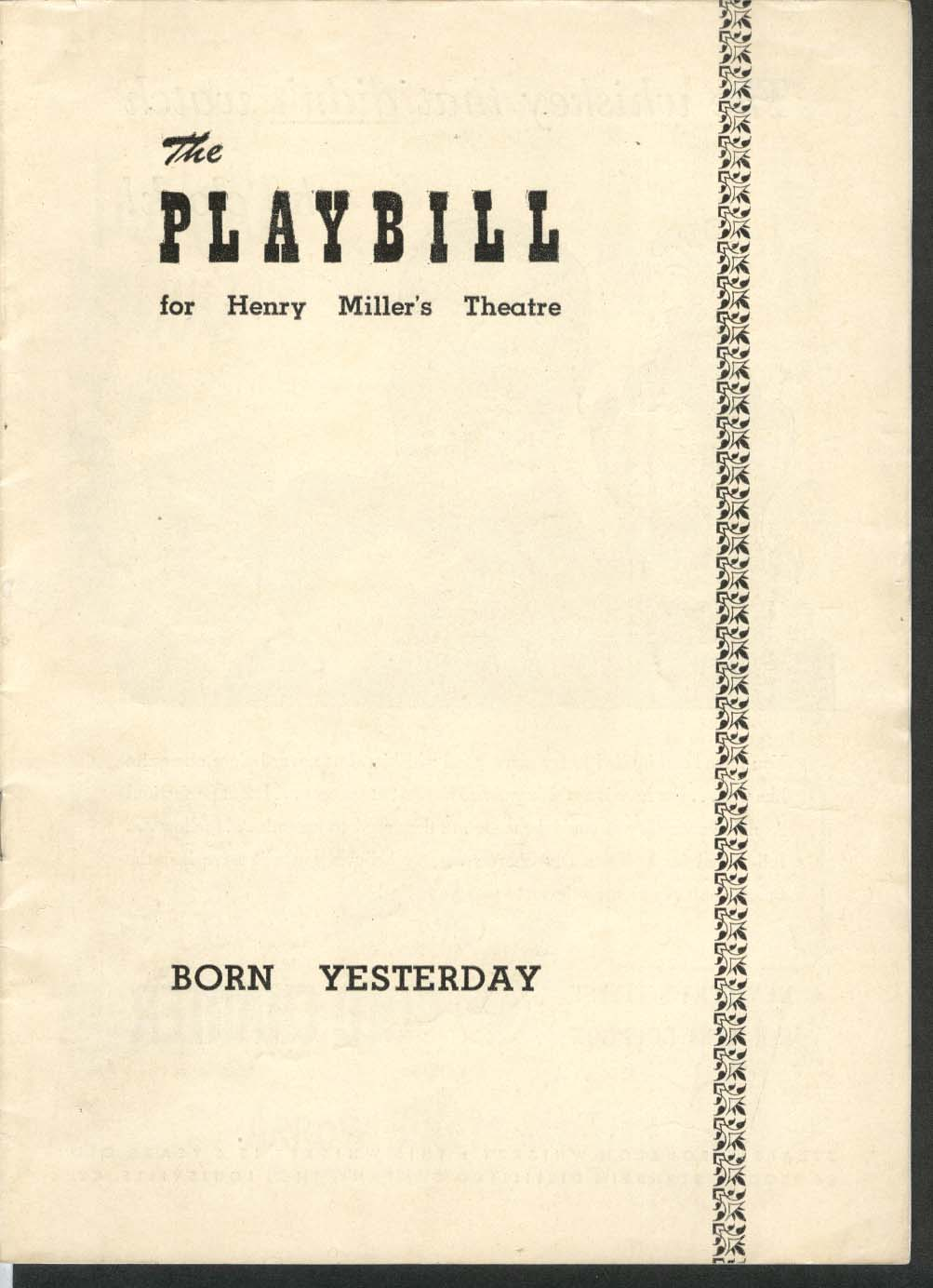 Image for Born Yesterday Playbill 8/15/49 Paul Verrall Larry Oliver Frank Otto Ellen Hall