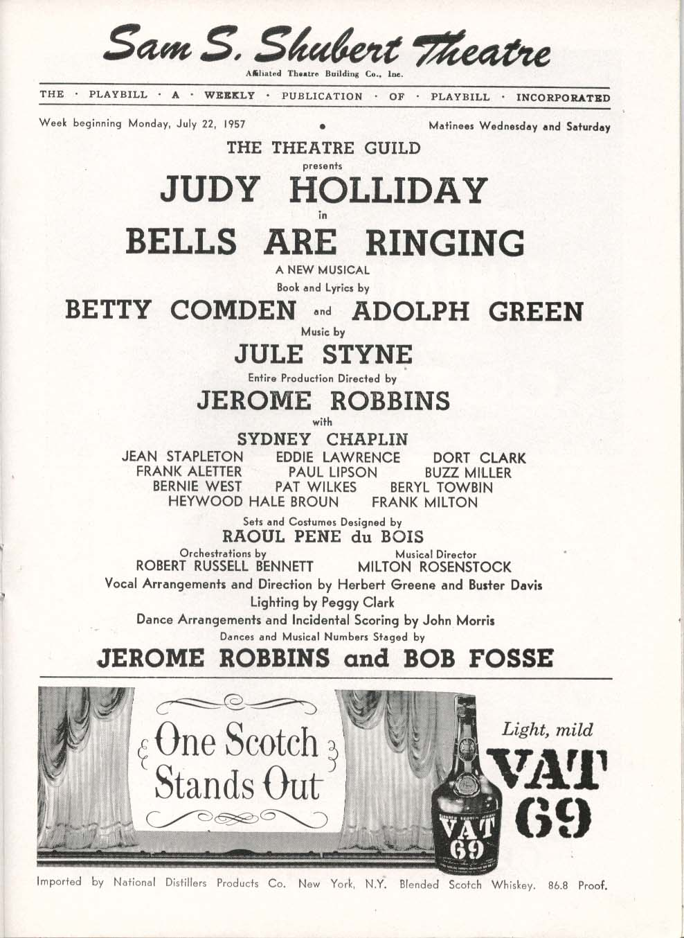 Image for Bells Are Ringing Playbill 7/22/57 Judy Holliday Betty Comden Adolph Green