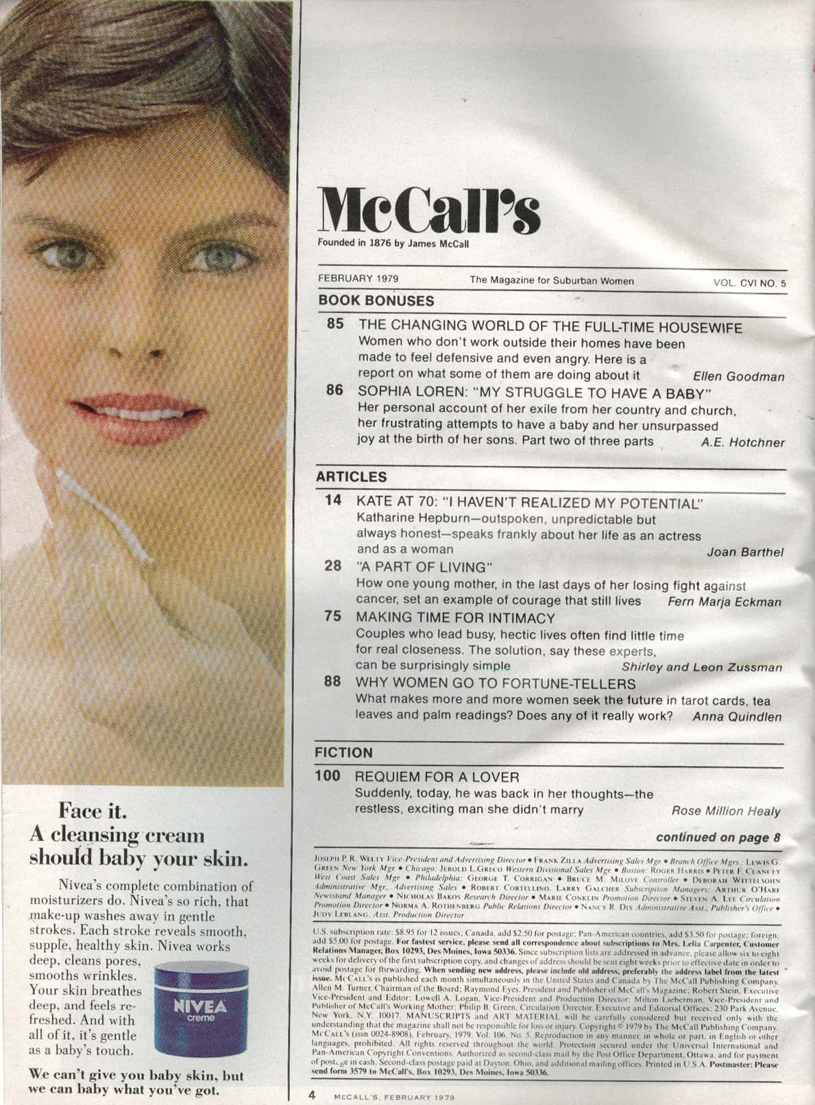Image for McCALL'S Katharine Hepburn Sophia Loren Housewives Cancer 2 1979
