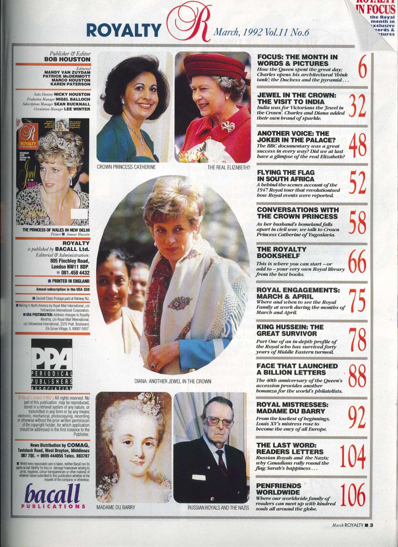 Image for ROYALTY MONTHLY Charles & Diana in India Princess Catherine of Yugoslavia 3 1992