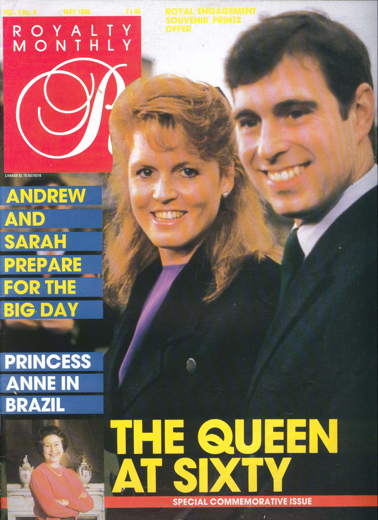 Image for ROYALTY MONTHLY Queen Elizabeth at 60 Andrew & Sarah Anne in Brazil 5 1986