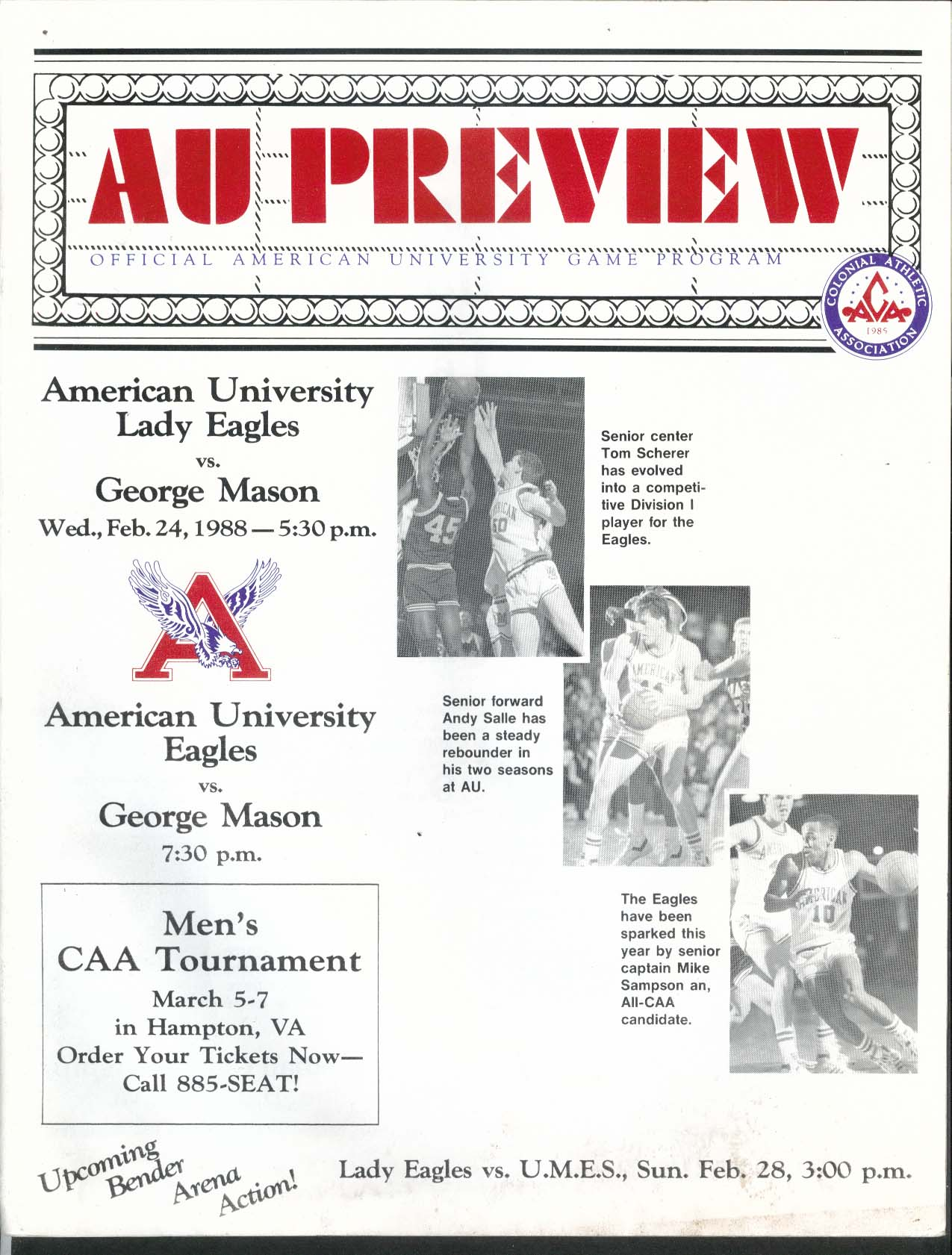 Image for AU Preview American University Game Program 1988