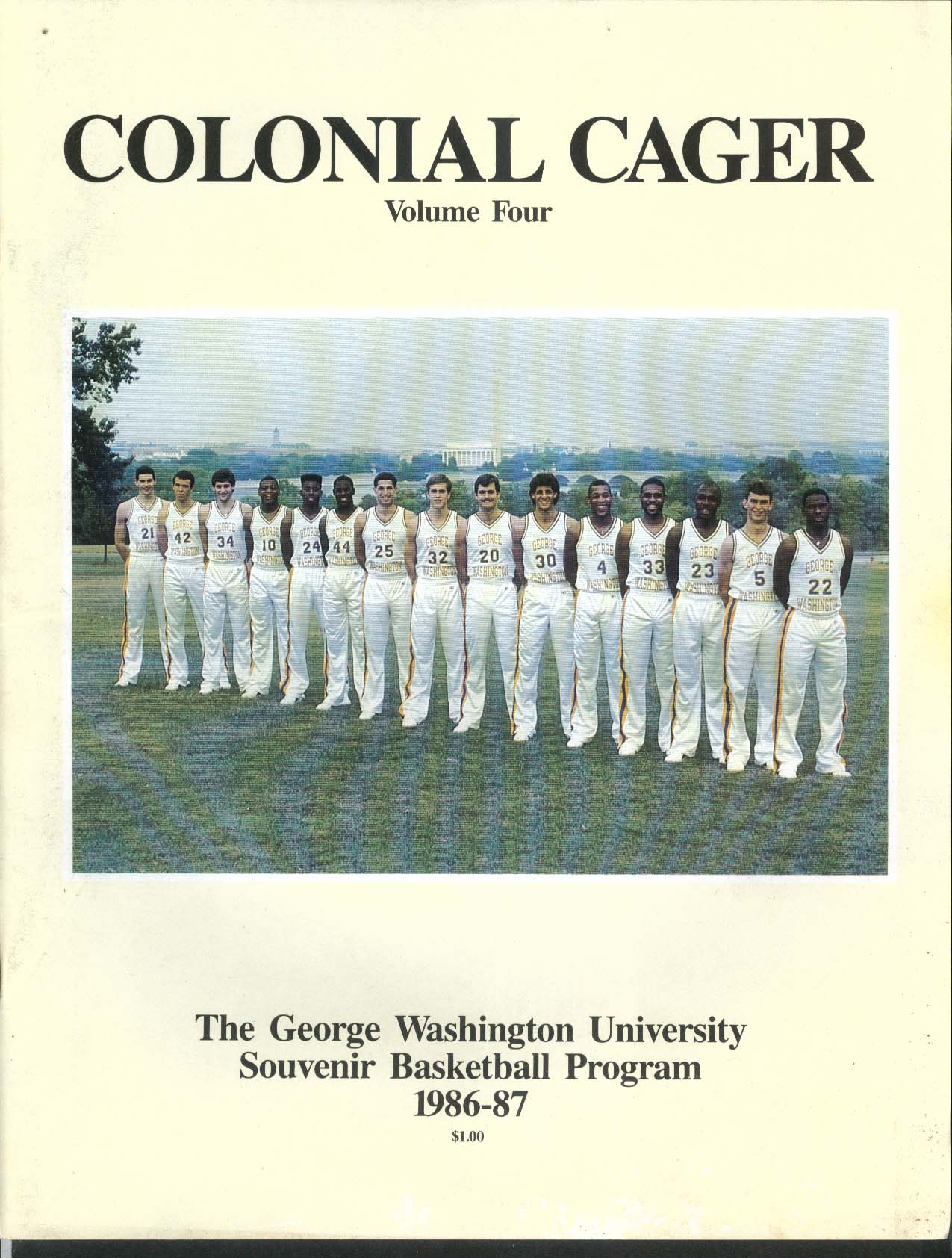 Image for Colonial Cager V4 George Washington University Souvenir Basketball Program 1986