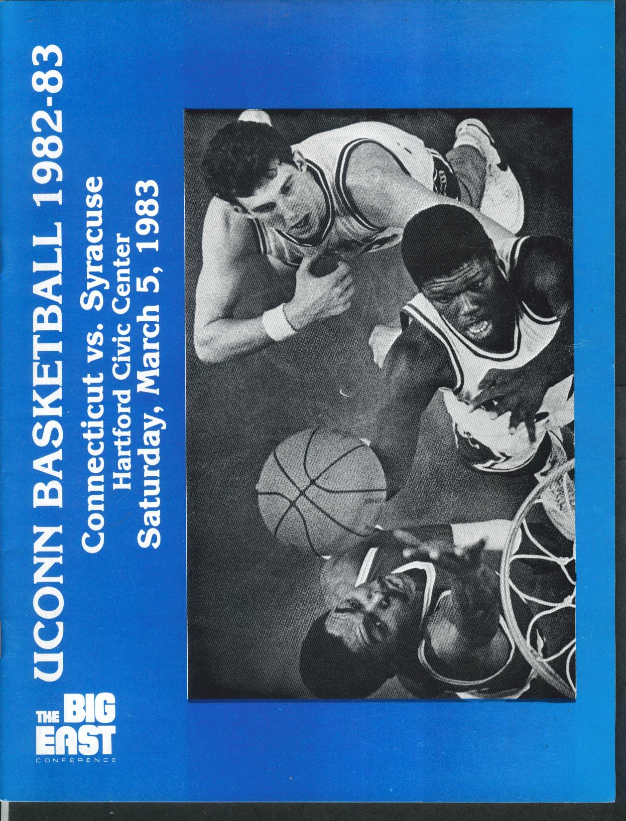 Image for Uconn Basketball 3/5 1983 Connecticut vs Syracuse UNSCORED Big East Program