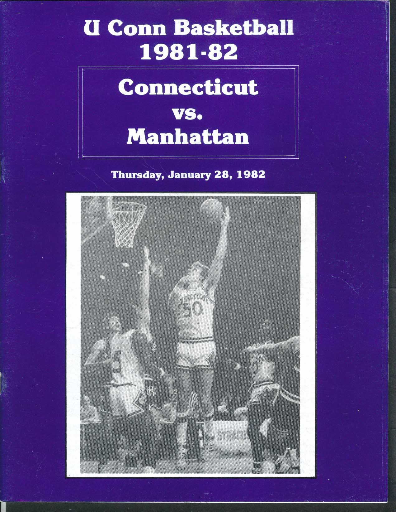 Image for Uconn Basketball 1/28 1982 Connecticut vs Manhattan College UNSCORED Program